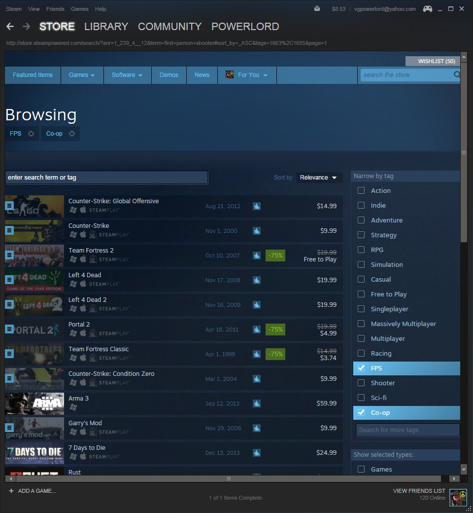 Steam Discovery search page