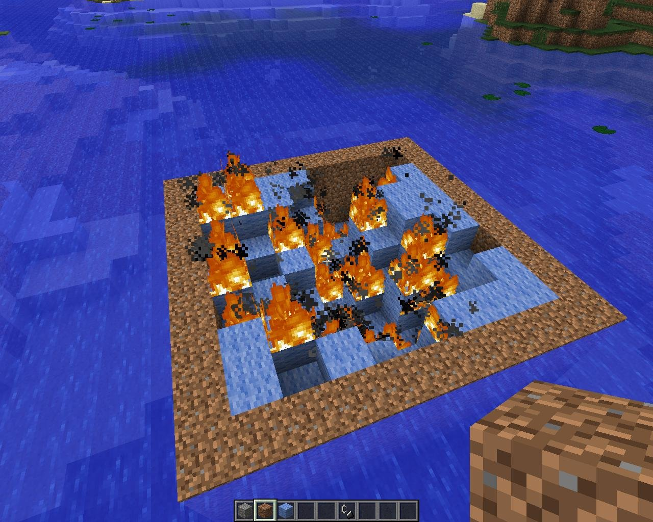 the fire consumes the wool, leaving empty space in its place