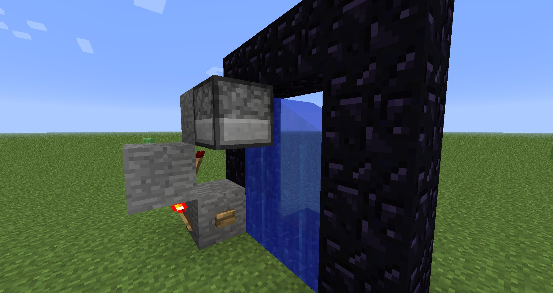 The dispenser has a water block in front of it, filling the portal with flow blocks.