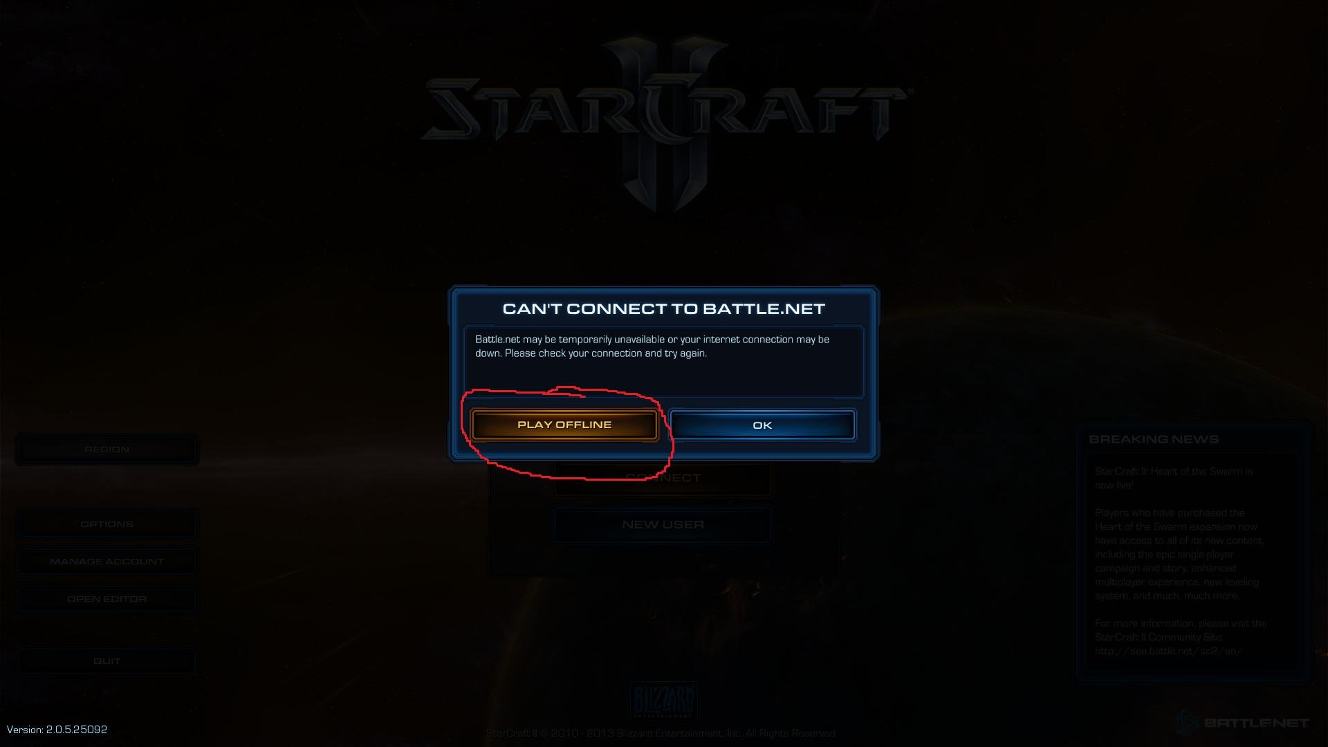 """Screenshot of """"Can't Connect to Battle.net"""" prompt"""