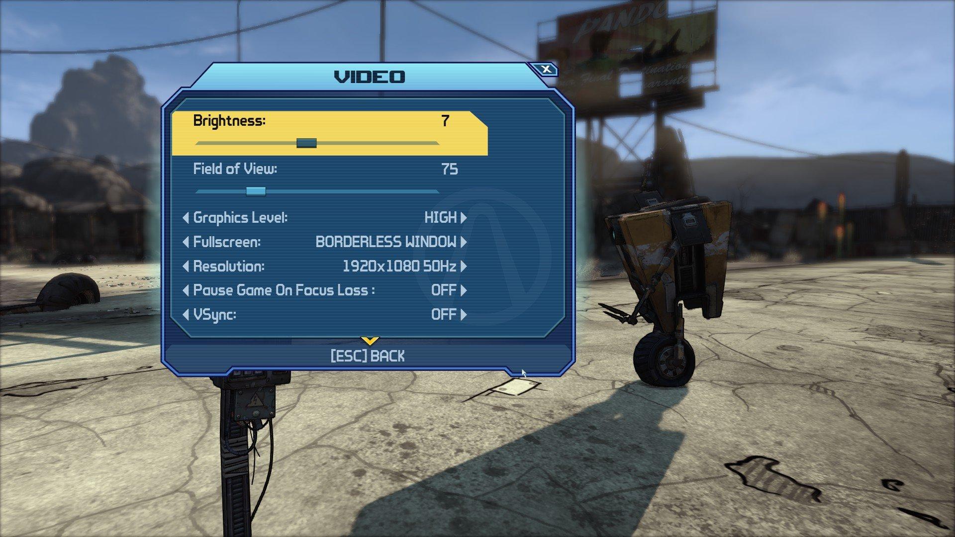 Borderlands GOTY Video options